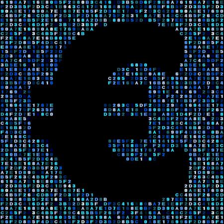 hex: Euro symbol on blue hex code illustration