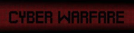cyber warfare: Cyber Warfare text on red laptops background illustration
