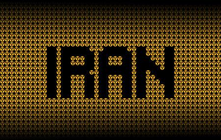 nuclear weapon: Iran text on radioactive warning symbols illustration Stock Photo
