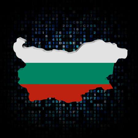 hex: Bulgaria map flag on hex code illustration Stock Photo