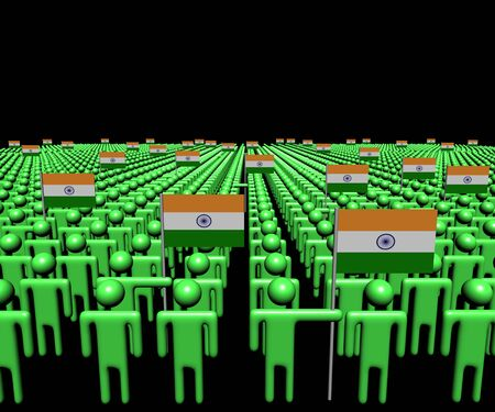 multitude: Crowd of abstract people with many Indian flags illustration