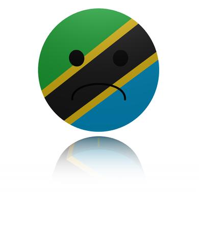 mournful: Tanzania sad icon with reflection illustration