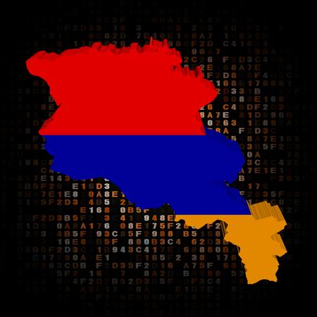 armenia: Armenia map flag on hex code illustration Stock Photo