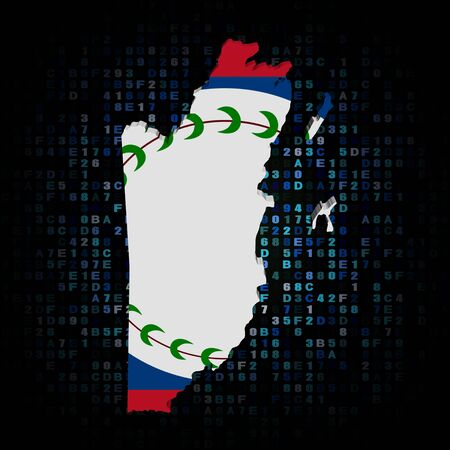 hex: Belize map flag on hex code illustration Stock Photo