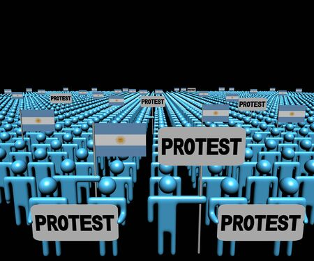 protest man: Crowd of people with protest signs and Argentina flags illustration Stock Photo
