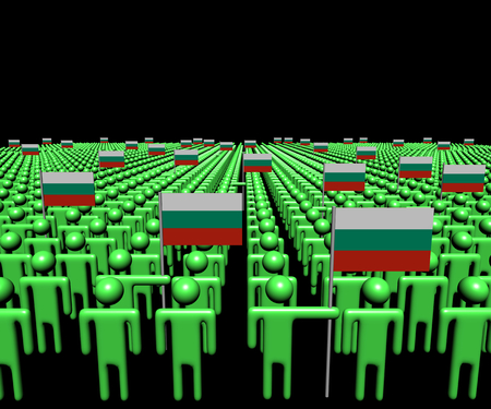 multitude: Crowd of abstract people with many Bulgarian flags illustration Stock Photo