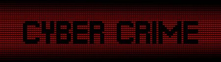 spyware: Cyber Crime text on red laptops background illustration