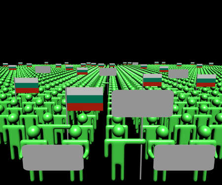 bulgarian: Crowd of people with signs and Bulgarian flags illustration Stock Photo