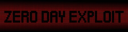 malicious software: Zero Day Exploit text on red laptops background illustration