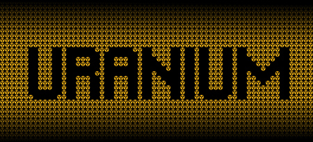 uranium: Uranium text on radioactive warning symbols illustration Stock Photo