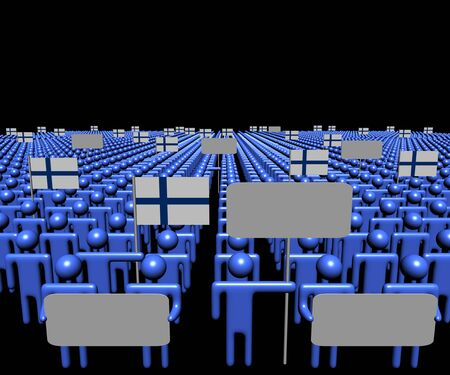 multitude: Crowd of people with signs and Finnish flags illustration Stock Photo