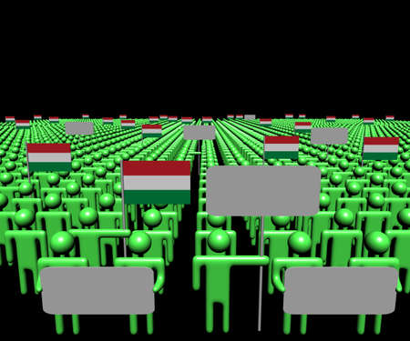 multitude: Crowd of people with signs and Hungary flags illustration Stock Photo