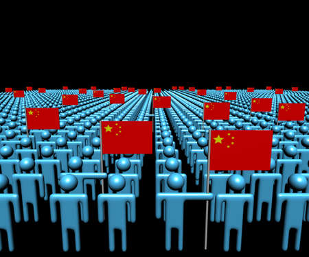 multitude: Crowd of abstract people with many Chinese flags illustration Stock Photo
