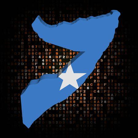 hex: Somalia map flag on hex code illustration Stock Photo