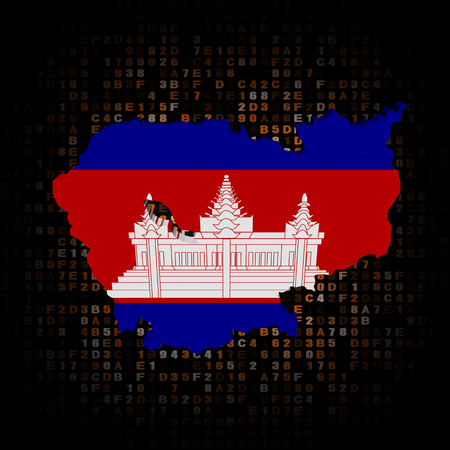 hex: Cambodia map flag on hex code illustration Stock Photo