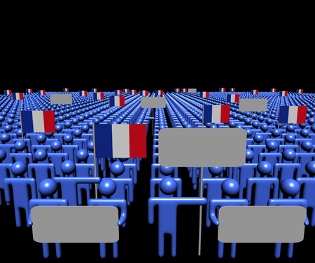 multitude: Crowd of people with signs and French flags illustration