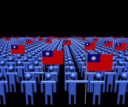 taiwanese: Crowd of abstract people with many Taiwanese flags illustration