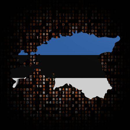 estonia: Estonia map flag on hex code illustration