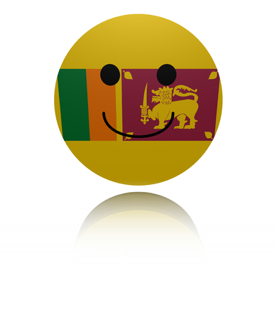 Sri Lanka happy icon with reflection illustration