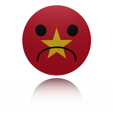 sorrowful: Vietnam sad icon with reflection illustration Stock Photo