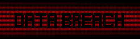 breach: Data Breach text on red laptops background illustration Stock Photo