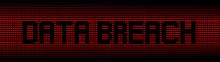 exploit: Data Breach text on red laptops background illustration Stock Photo