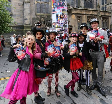 fringe: EDINBURGH- AUGUST 13: Members of Young Pleasance publicize their show Alice Unhinged during Edinburgh Fringe Festival on August 13, 2016 in Edinburgh, UK