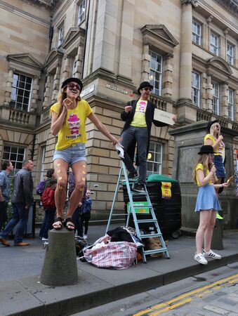 twelfth night: EDINBURGH- AUGUST 13: Members of Livewire publicize their show Twelfth Night during Edinburgh Fringe Festival on August 13, 2016 in Edinburgh, UK