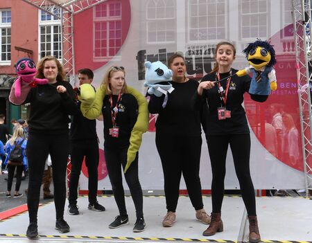 publicize: EDINBURGH- AUGUST 13: Members of Kite Tail Theatre Company publicize their show The Toyland Murders during Edinburgh Fringe Festival on August 13, 2016 in Edinburgh, UK Editorial