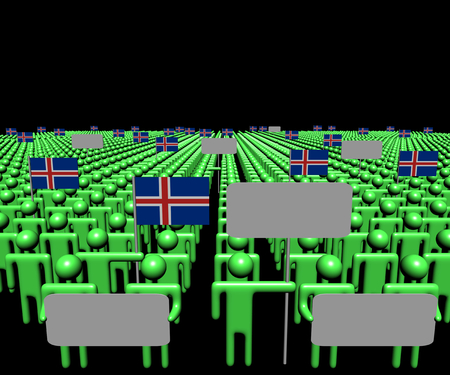 Crowd of people with signs and Icelandic flags illustration