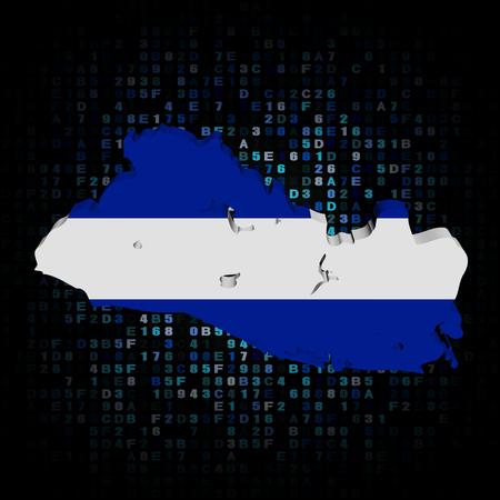 el: El Salvador map flag on hex code illustration