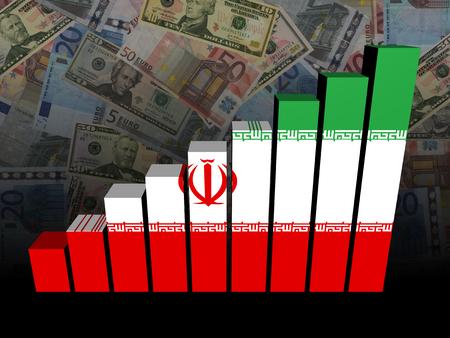 iranian: Iranian flag bar chart over Euros and Dollars illustration Stock Photo