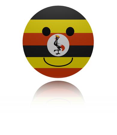 Uganda happy icon with reflection illustration