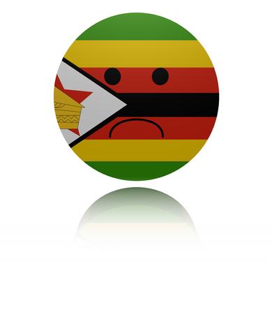 mournful: Zimbabwe sad icon with reflection illustration
