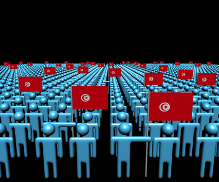 multitude: Crowd of abstract people with many Tunisian flags illustration