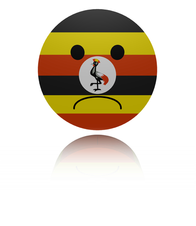sorrowful: Uganda sad icon with reflection illustration