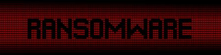 exploit: Ransomware text on red laptops background illustration