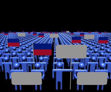 haitian: Crowd of people with signs and Haitian flags illustration