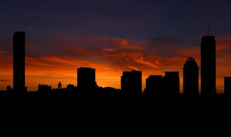 Boston skyline with sunset illustration