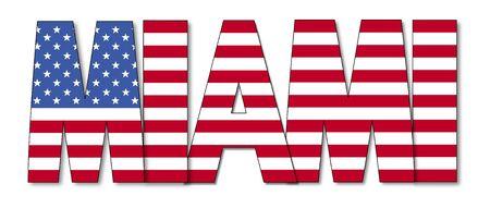 miami: Miami overlapping flag text illustration
