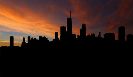 Chicago-Skyline mit Sonnenuntergang Illustration Standard-Bild - 67022966
