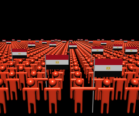 multitude: Crowd of abstract people with many Egyptian flags illustration