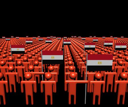 bandera de egipto: Multitud de personas abstractas con muchas banderas ilustración egipcia