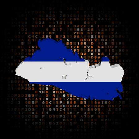 mapa de el salvador: Indicador de la correspondencia El Salvador en la ilustración de código hexadecimal