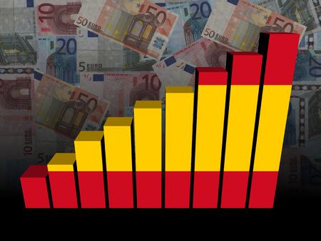 spanish flag: Spanish flag bar chart over euros illustration Stock Photo