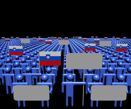 slovenian: Crowd of people with signs and Slovenian flags illustration