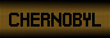 radioactive warning symbol: Chernobyl text on radioactive warning symbols illustration Stock Photo