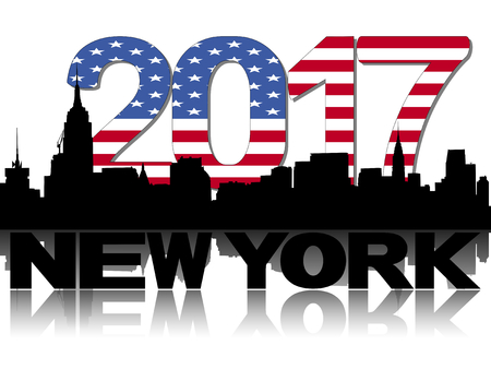 new york skyline: New York skyline 2017 flag text illustration Stock Photo