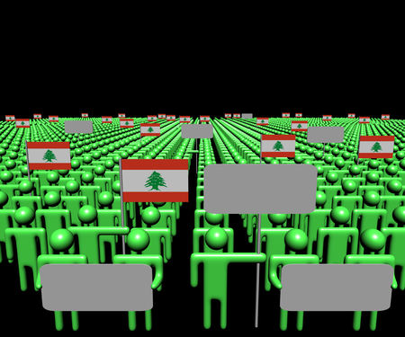 lebanese: Crowd of people with signs and Lebanese flags illustration