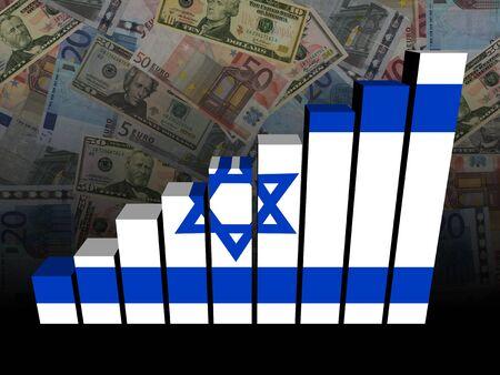 israeli: Israeli flag bar chart over Euros and Dollars illustration Stock Photo